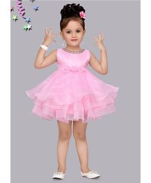 M'PRINCESS Party Wear Dress With Flower Applique - Pink