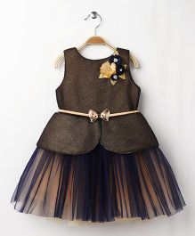 M'PRINCESS Party Wear Dress With Bow On Belt - Blue