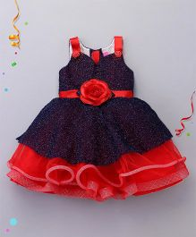 M'PRINCESS Party Wear Dress With Flower On Belt - Blue