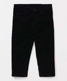 Babyhug Full Length Corduroy Trouser With Adjustable Elastic Waist - Black