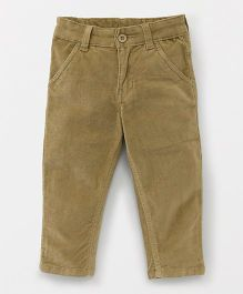 Babyhug Corduroy Trouser With Adjustable Elastic Waist - Olive Green