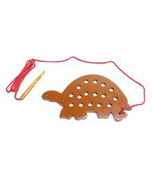 Alpaks Lacing Turtle Wooden Toy - Brown