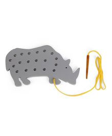 Alpaks Lacing Hippopotamus Toy - Grey
