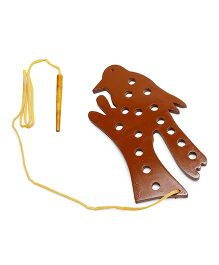 Alpaks Lacing Bird Shape Wooden Animal Toy - Brown