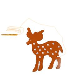 Alpaks Lacing Deer Shape Wooden Toy - Brown