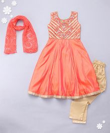 Adores Sleeveless Kurti And Churidaar With Dupatta - Orange Golden