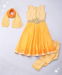 Adores Designer Chuddidar Set - Yellowish Orange