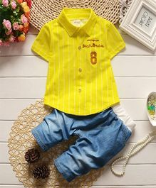 Wonderland Striped Shirt & Pant Set - Yellow