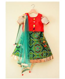 Tu Ti Tu Bandhni Print Cold Shoulder Lehenga Choli - Red & Green