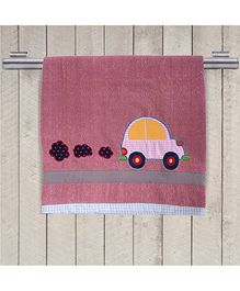 Princess & Her Bunny Embroidered Car Bath Towel - Rose Pink