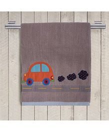 Princess & Her Bunny Embroidered Car Bath Towel - Hazelnut