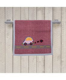 Princess & Her Bunny Embroidered Car Hand Towel - Rose