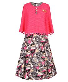 Aarika Sequin Piping Cape Style Printed Gown With Pom Poms - Pink