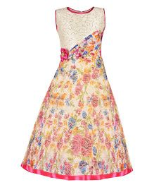 Aarika Sequin Bodice Party Wear Floral Printed Gown With Flower Applique - Pink