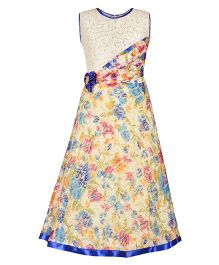 Aarika Sequin Bodice Party Wear Floral Printed Gown With Flower Applique - Blue