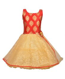 Aarika Brocade Design Party Wear Dress With Flower Applique - Red