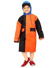 Real Baggy See Through Raincoat - Orange Black & Blue