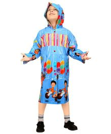 Real Printed Baggy Printed Raincoat - Blue
