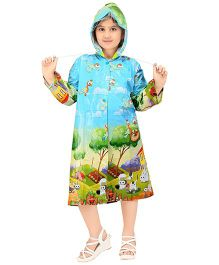 Real Printed Baggy Forest Printed Raincoat - Light Blue