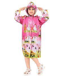 Real Printed Baggy Animal Printed Raincoat - Pink