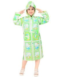 Real Printed Baggy Kitten Printed Raincoat - Light Green