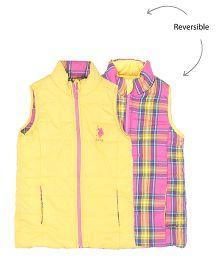 US Polo Kids Sleeveless Reversible Jacket - Yellow Pink