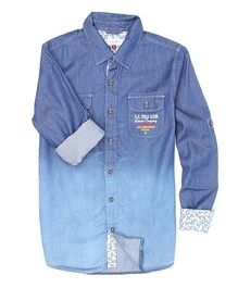 US Polo Kids Full Sleeves Denim Shirt - Blue