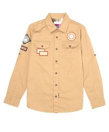 US Polo Kids Full Sleeves Shirt - Brown