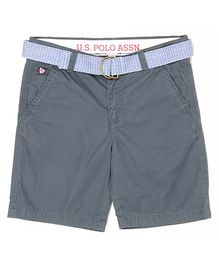 US Polo Kids Solid Colour Shorts With Belt - Grey