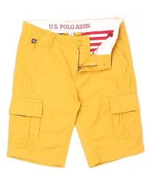 US Polo Kids Solid Colour Shorts With Belt - Yellow