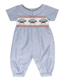 Fablez N Angelz Space Ship Emroidered Romper - Blue