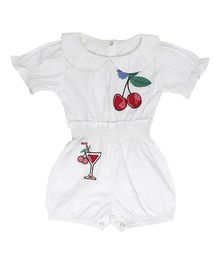 Fablez N Angelz Cherry Emroidered Romper - White