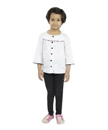 Fablez N Angelz Embroidered Shirt With Stylish Buttons - White