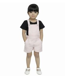 Fablez N Angelz Thread Embroidered Dungaree - Red & White