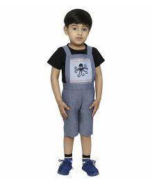 Fablez N Angelz Octopus Embroidered Boys Dungaree - Grey