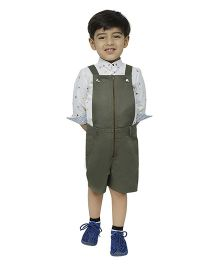 Fablez N Angelz Boys Dungaree With Front Zipper - Olive Green