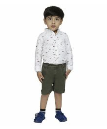 Fablez N Angelz Fox Printed Boys Shirt - White