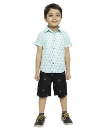 Fablez N Angelz Boys Tree Printed Shirt - White & Green
