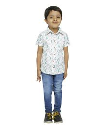 Fablez N Angelz Boys Cactus Printed Shirt - White & Green