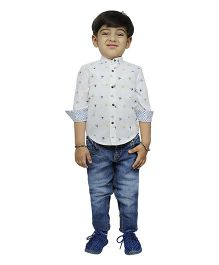Fablez N Angelz Boys Bicycle Printed Chinese Collar Shirt - White & Multicolor