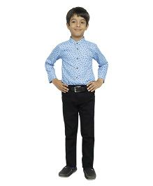 Fablez N Angelz Boys Printed Full Sleeves Shirt - Blue