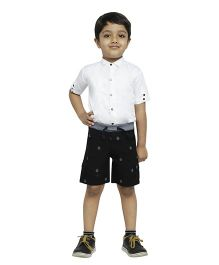Fablez N Angelz Yacht Printed Boys Cargo Shorts - Black & Grey