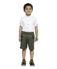 Fablez N Angelz Boys Shorts With Pockets - Olive Green