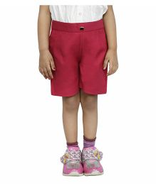 Fablez N Angelz Shorts With Stylish Front Button - Red