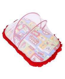 Mee Mee Mattress With Pillow And Mosquito Net Vehicle Print - Red