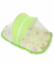 Mee Mee Pink Mattress Set With Mosquito Net Mashroom Print - Green