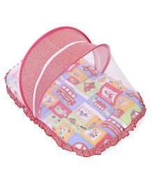 Mee Mee Pink Mattress Set With Mosquito Net Vehicle Print - Red