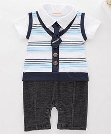 Pre Order - Awabox Striped Romper With Tie - White & Black