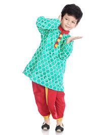 Little Pockets Store Dhoti Kurta Set With Pompom - Green