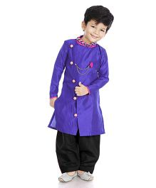 Little Pockets Store Sherwani With Bead Work - Blue